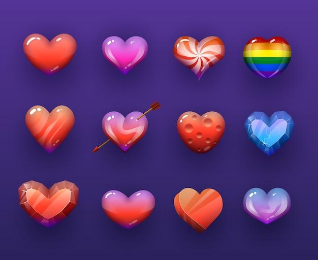 Conjunto de ícones do vectir isolado dos corações dos desenhos animados.