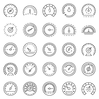 Conjunto de ícones do velocímetro. conjunto de contorno dos ícones do vetor velocímetro