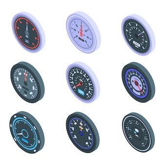 Conjunto de ícones do velocímetro, estilo isométrico