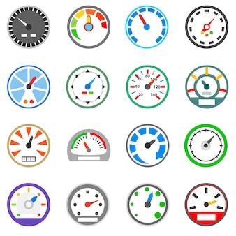 Conjunto de ícones do velocímetro