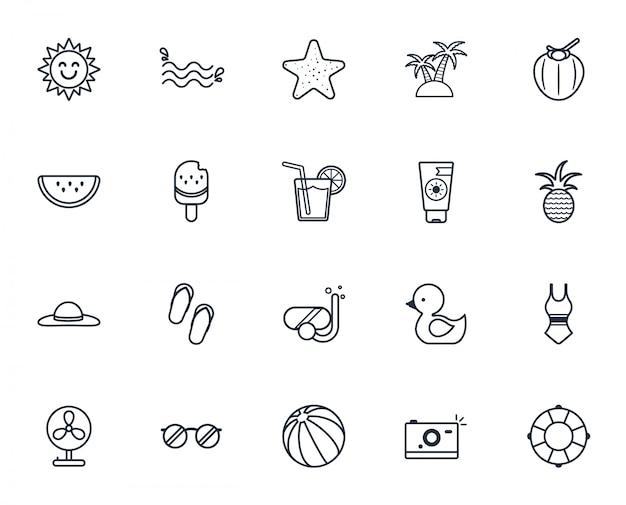 Conjunto de ícones do verão, conjunto de ícones de férias de verão.