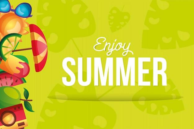 Conjunto de ícones do verão no design de vetor do lado direito
