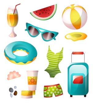Conjunto de ícones do verão, praia ensolarada e colorida