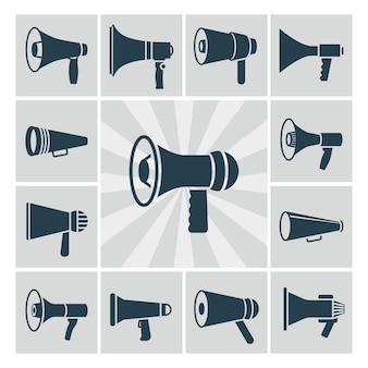 Conjunto de ícones do vetor alto-falante. coleção de silhuetas megafone plana