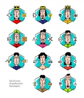 Conjunto de ícones do vetor das profissões das pessoas.
