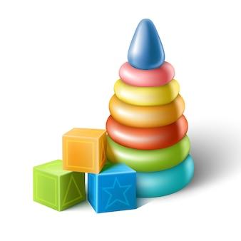 Conjunto de ícones do vetor de brinquedos plásticos de bebê, cubos e pirâmide colorida.