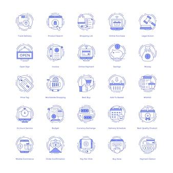 Conjunto de ícones do vetor de compras