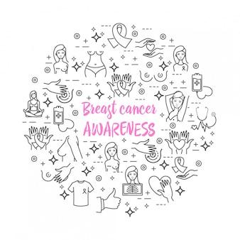 Conjunto de ícones do vetor de conscientização do câncer de mama