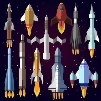 Conjunto de ícones do vetor de foguetes de espaço.