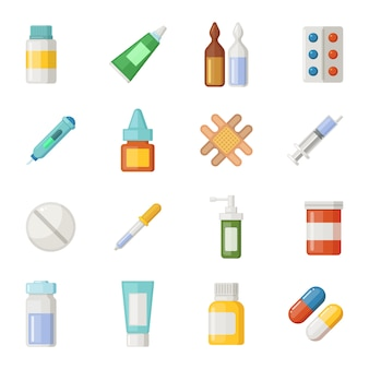 Conjunto de ícones do vetor de medicamentos