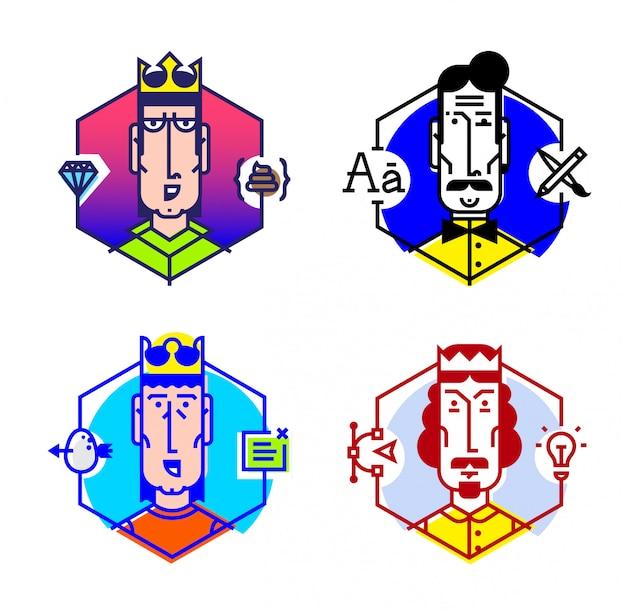 Conjunto de ícones do vetor de pessoas de diferentes profissões.