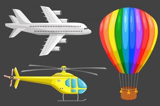 Conjunto de ícones do vetor de transporte aéreo