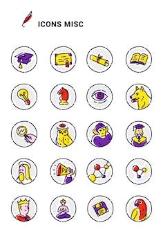 Conjunto de ícones do vetor em diferentes temas.