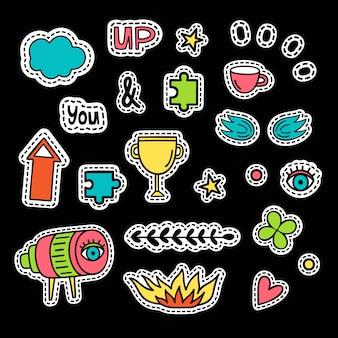 Conjunto de ícones do vetor em estilo pop art