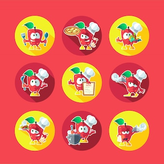 Conjunto de ícones do vetor liso redondo com chef apple e utensílios de cozinha