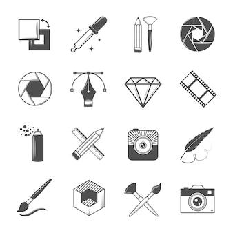 Conjunto de ícones do vetor vintage para suas etiquetas