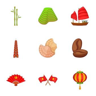 Conjunto de ícones do vietnã, estilo cartoon