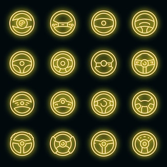 Conjunto de ícones do volante. conjunto de contorno de ícones de vetor de volante, cor de néon no preto