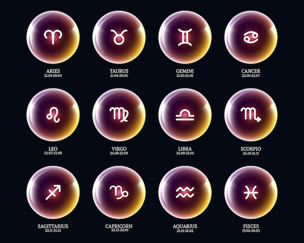 Conjunto de ícones do zodíaco de vetor em bolas luminosas