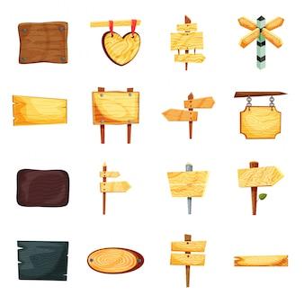 Conjunto de ícones dos desenhos animados bandeira de madeira