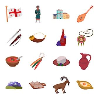 Conjunto de ícones dos desenhos animados da geórgia