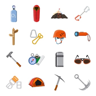 Conjunto de ícones dos desenhos animados de alpinista.