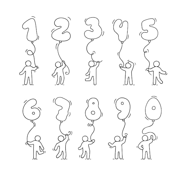 Conjunto de ícones dos desenhos animados de desenho pequenas pessoas com números. ilustração de mão desenhada para design de educação e festa.