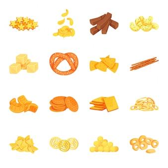 Conjunto de ícones dos desenhos animados de lanche