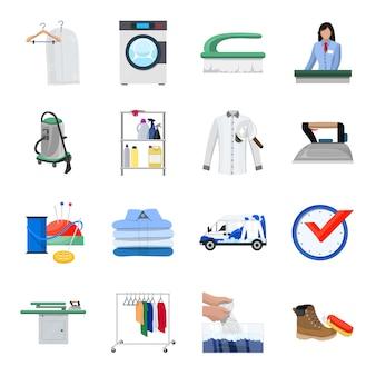 Conjunto de ícones dos desenhos animados de limpeza a seco, serviço de limpeza.