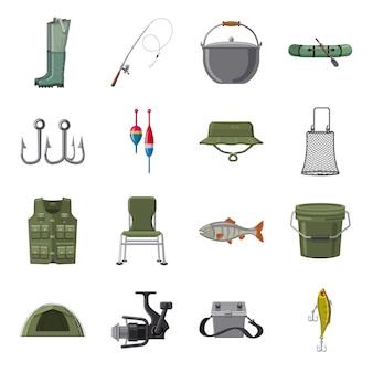 Conjunto de ícones dos desenhos animados de pesca, pesca no mar.