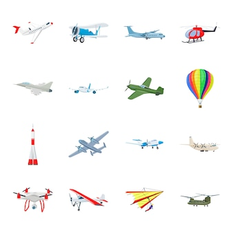 Conjunto de ícones dos desenhos animados de transporte aéreo, avião do ar.
