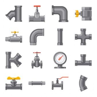 Conjunto de ícones dos desenhos animados de tubulação, pipeline.