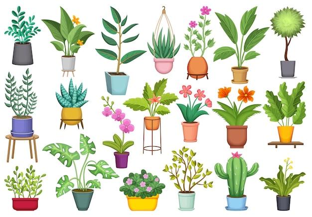 Conjunto de ícones dos desenhos animados de vaso de flores.