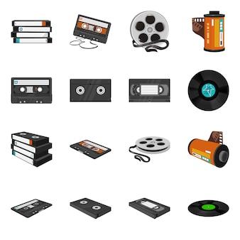 Conjunto de ícones dos desenhos animados de vetor de cartucho e cassete. fita de vídeo de ilustração vetorial e fita de vídeo isoladas. conjunto de ícones de cassete, disco musical.