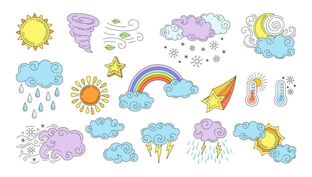 Conjunto de ícones dos desenhos animados do tempo isolado no branco