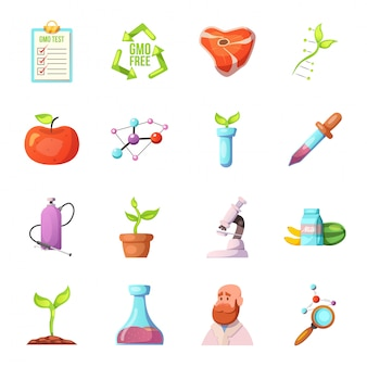 Conjunto de ícones dos desenhos animados ogm