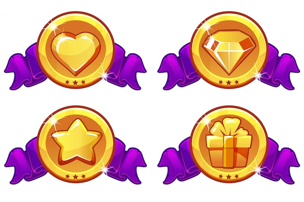Conjunto de ícones dos desenhos animados para design de jogo, banner de interface do usuário, estrela, calor, presente e diamante conjunto de ícones
