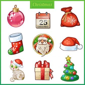 Conjunto de ícones dos desenhos animados para o natal e ano novo