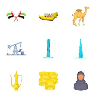 Conjunto de ícones dos emirados árabes unidos, estilo cartoon