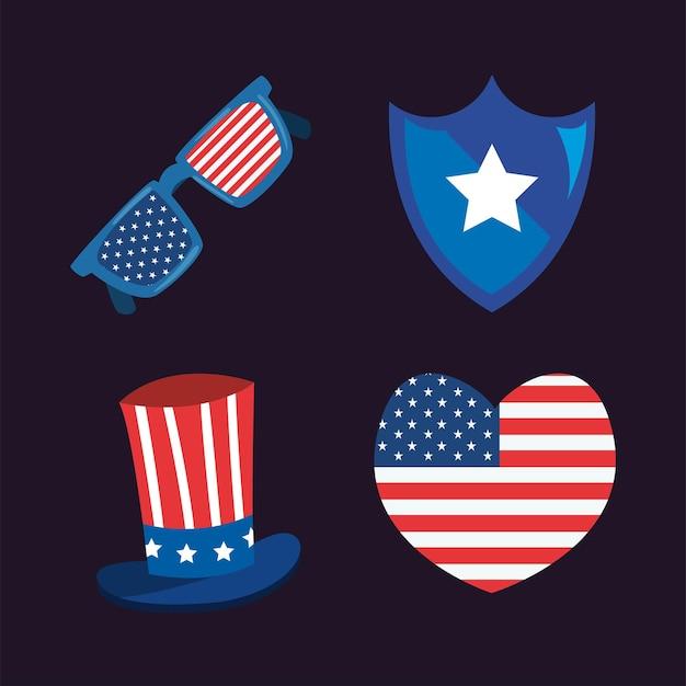 Conjunto de ícones dos eua e do feliz dia da independência