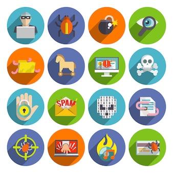 Conjunto de ícones dos hackers