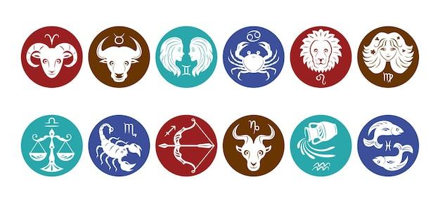 Conjunto de ícones dos signos do zodíaco.