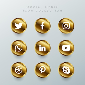 Conjunto de ícones dourados de mídia social