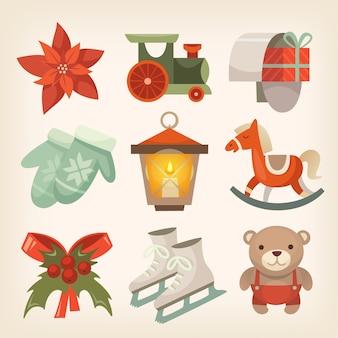 Conjunto de ícones e adesivos lisos coloridos, decorações de natal