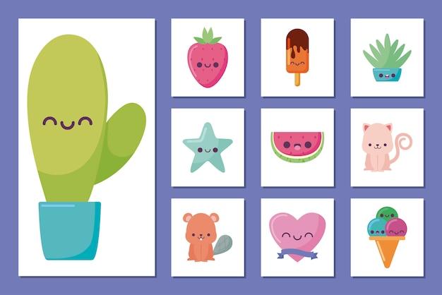 Conjunto de ícones e cacto kawaii desenhos animados