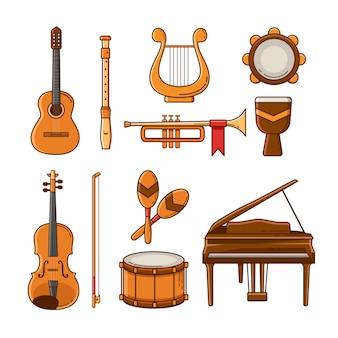 Conjunto de ícones e elementos de instrumento musical plano