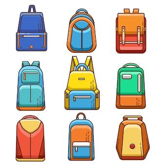 Conjunto de ícones e elementos de mochila plana