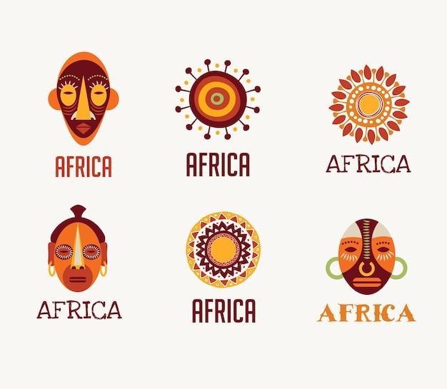 Conjunto de ícones e elementos de safári na áfrica