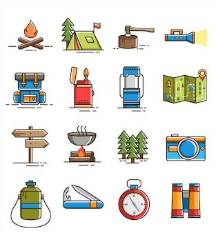 Conjunto de ícones e elementos simples de campismo plano
