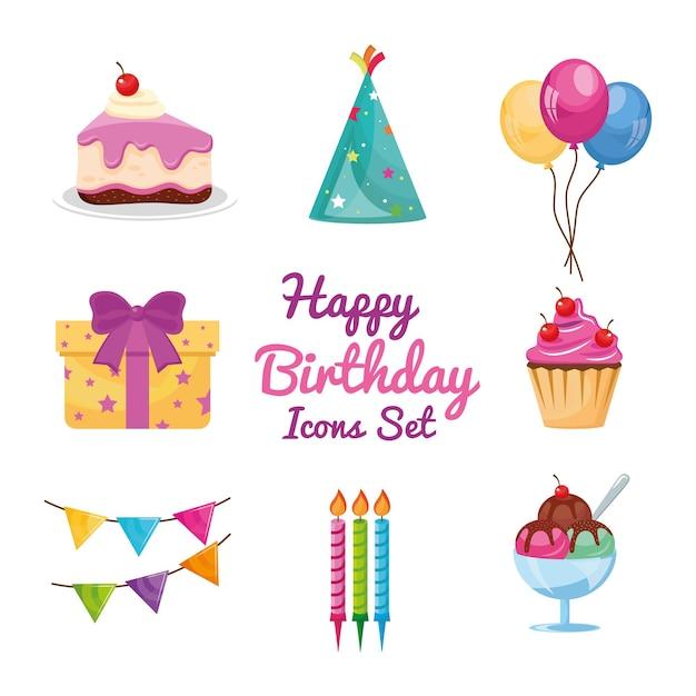 Conjunto de ícones e letras de aniversário de oito festas